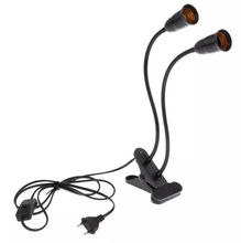 E27 socket double lamp with clip, switch and cable 1.3m