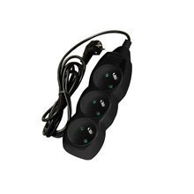 Power cord extension 3 sockets with earthing - 1.5 m